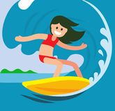 Young surfer girl on the crest wave. Vector flat Royalty Free Stock Images