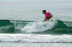 Young Surfer Girl Surfing Wahine Classic Event Royalty Free Stock Photos