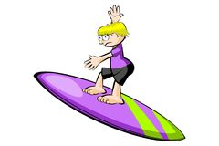 Young surfer isolated on white Royalty Free Stock Photos