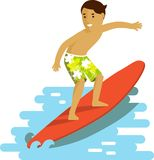 Young Surfer Man On Surfboard Riding The Wave Royalty Free Stock Images