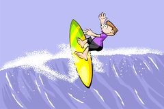 Young surfer man riding the wave Royalty Free Stock Image