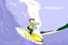 Young surfer man riding the wave Royalty Free Stock Images