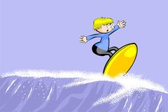 Young surfer man riding the wave Stock Photo