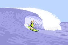 Young surfer man on surfboard riding the wave Stock Photo
