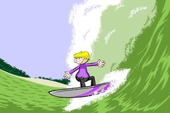 Young surfer man on surfboard riding the wave Stock Image