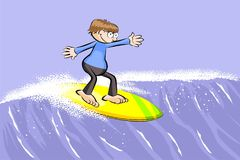 Young surfer man on surfboard riding the wave Stock Photos