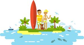 Young surfer man and woman couple with surfboard Royalty Free Stock Image