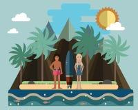 Young surfers, boy and girl. Hawaiian beach. Vector flat   Royalty Free Stock Image