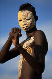Young Suri warrior with body painting royalty free stock image