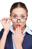 Young surprised business woman with glasses Stock Photo
