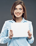 Young surprised business woman studio portrait wit Royalty Free Stock Photos