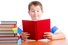 Young surprised elementary schoolboy Royalty Free Stock Image