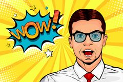 Young surprised man in glasses with open mouth and Wow speech bubble. Pop art illustration
