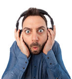 Young surprised man with headphones Royalty Free Stock Photo