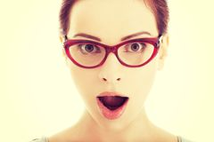 Young surprised woman in eyeglasses. Stock Photography