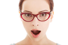 Young surprised woman in eyeglasses. Stock Image