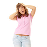 Young surprised woman looking up. Isolated on white background Stock Photo