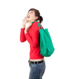 Young surprised woman with shopping bag Stock Photo