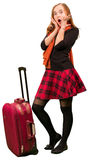 Young surprised woman with travel sutcase Royalty Free Stock Image