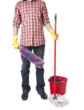 Young sweeping man workwear. Isolated Stock Images