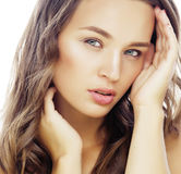 Young sweet brunette woman close up isolated on white background, perfect pure innocense beautiful Royalty Free Stock Image