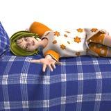 Young sweet cartoon girl invites to a slumber Royalty Free Stock Photos
