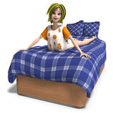 Young sweet cartoon girl invites to a slumber Stock Image