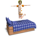 Young sweet cartoon girl invites to a slumber Stock Images