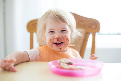 Young sweet child with dirty mouth Stock Image