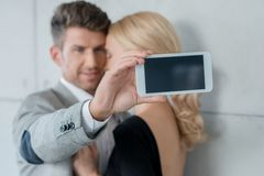 Young Sweet Couple Taking Self Photos Stock Images