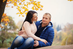 Young sweet couple together having date, autumn royalty free stock photos