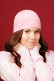 Young sweet girl in pink winter cloths Royalty Free Stock Photo