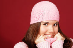 Young sweet girl in pink winter cloths Royalty Free Stock Images