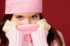 Young sweet girl in pink winter cloths Stock Images