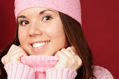 Young sweet girl in pink winter cloths Stock Image