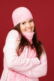 Young sweet girl in pink winter cloths Royalty Free Stock Photos