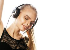 Young sweet talented teenage girl in headphones singing isolated Stock Photos