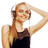 Young sweet talented teenage girl in headphones singing isolated Royalty Free Stock Photo