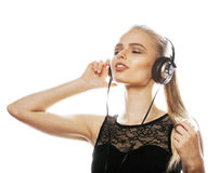 Young sweet talented teenage girl in headphones singing isolated Royalty Free Stock Images