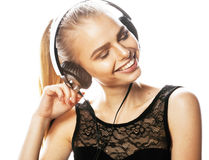 Young sweet talented teenage girl in headphones singing isolated Royalty Free Stock Image