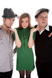 Young sweety girl and two cool guys Royalty Free Stock Images