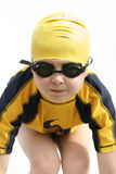 Young swimmer. Young child in swimming gear royalty free stock photo