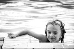 Young Swimmer. Black and white Portrait of a young swimmer with goggles Stock Photos