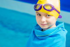 Young Swimmer in Blanket royalty free stock photo