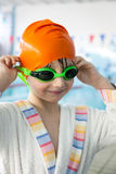 Young boy after swimming Stock Images