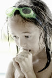 Young Swimmer. Closeup Portrait of a young swimmer with goggles Royalty Free Stock Photo