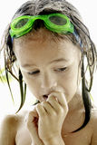 Young Swimmer. Closeup Portrait of a young swimmer with goggles Royalty Free Stock Images