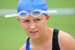 Young Swimmer Girl. Young Girl Swimmer Eyes Competition Royalty Free Stock Images
