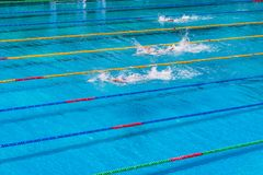 Young swimmers in outdoor swimming pool during competition. Health and fitness lifestyle concept with kids. Young swimmers in outdoor swimming pool during stock images