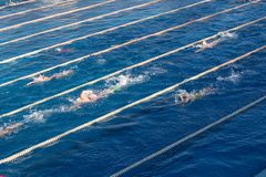 Young swimmers in outdoor swimming pool during freestyle race. Health and fitness lifestyle concept with kids stock photo